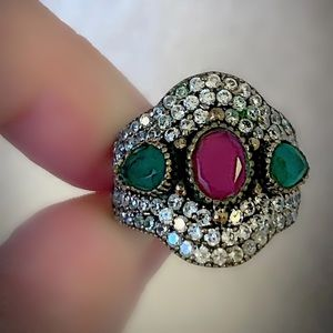 Other - RUBY EMERALD FINE ART RING Size 8.5 Solid 925/Gold